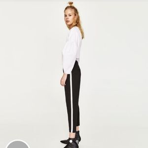 Zara Black Trouser with white stripes